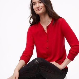 LOFT Red Button Down Open Cardigan Sweater Small